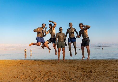 死海, 世界地球日, 海, 地平线, 年轻, 人, 乐趣, 搞笑, 欢乐, 跳