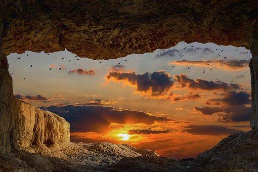 Landschaft, Höhle, Fels, Sonnenuntergang