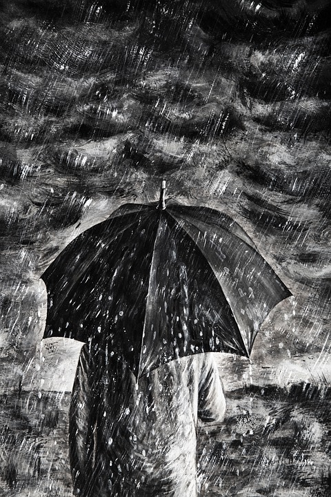 Pintura, La Lluvia, Con, Paraguas, Hombre, Oscuro