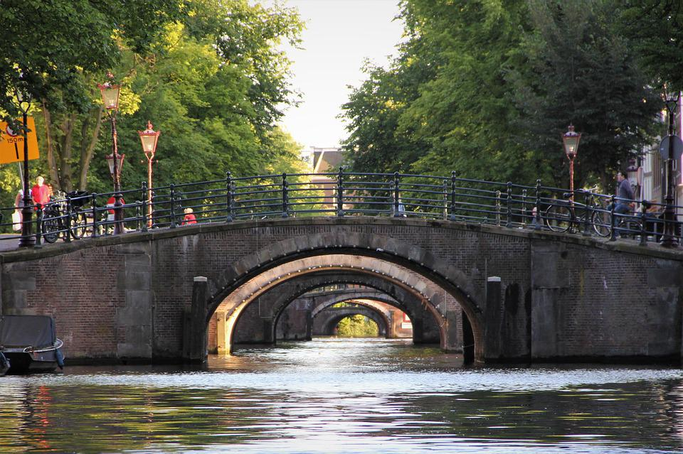 Bridges, Canal, Amsterdam, Golden, Many, River, Serene
