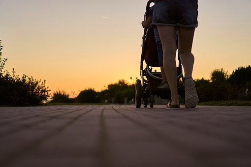 Woman, Baby Carriage, Run, Go, Walk