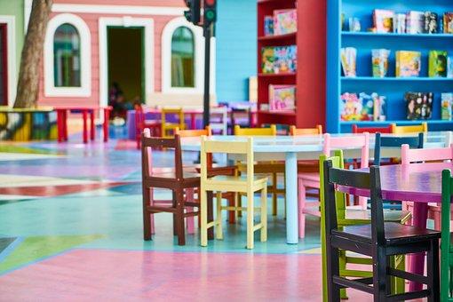 トレーニング, 学校, 保育園, 幼稚園, 子, 小児期, テーブル, 椅子