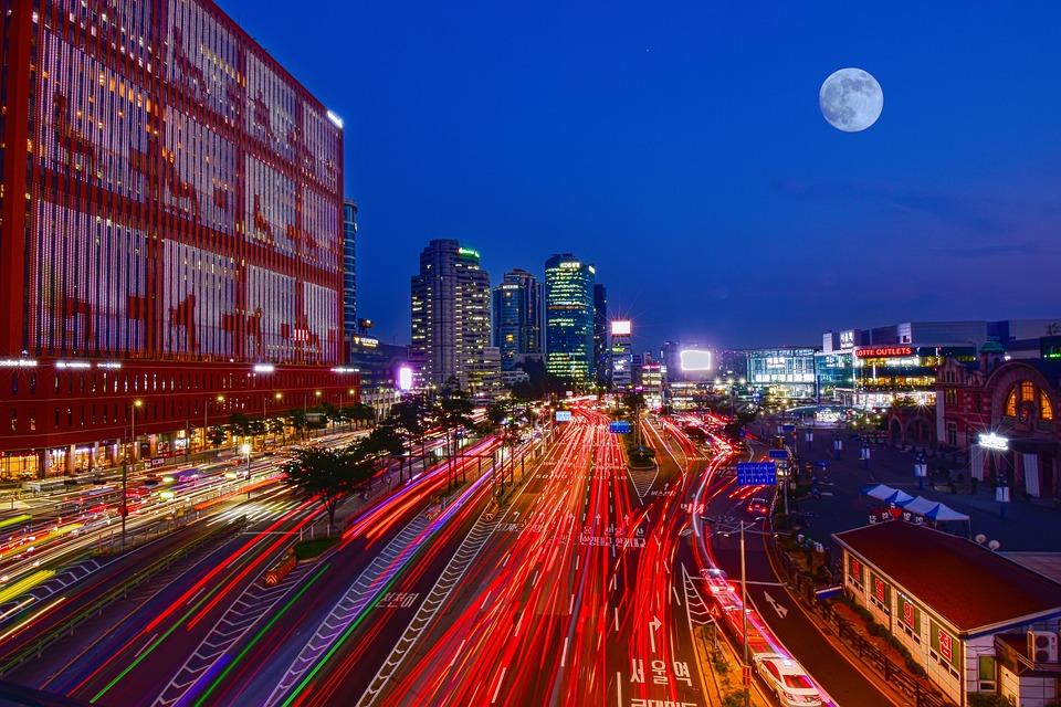 韓國首爾, 夜景, 車軌, 城市建築