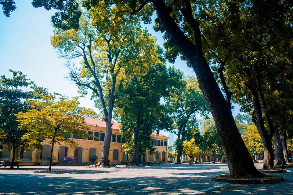 Autumn, School, Old, Campus, Attractive, Ancient, Sky