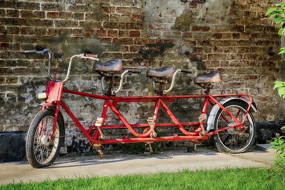 Bike, Triplet, Tandem, Old, Former, Rust, Leisure, Time