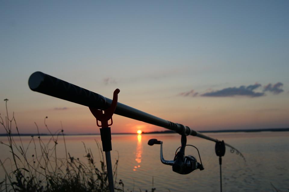 Wędka, Zachód, Słońce, Jezioro, Rybak, Ryb, Wędkarz