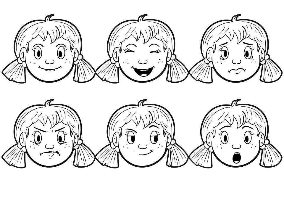 Разные эмоции в картинках для детей контур