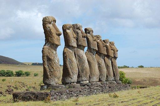 イースター島, ヌイ, モアイ, 像, 彫刻, チリ, 文化, 謎, 顔, 図