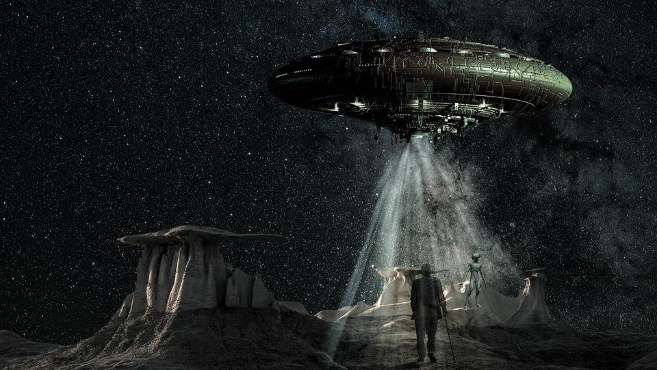 Fantasi, Utopi, Rymdskepp, Alien, Man, Gammal