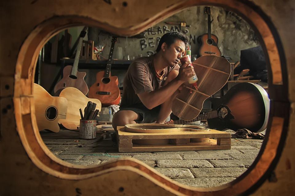 ワーク ショップ, 楽器, 木材, 職人, ギター, 修理, ビルダー, クラフト, 組み立てる, 仕事