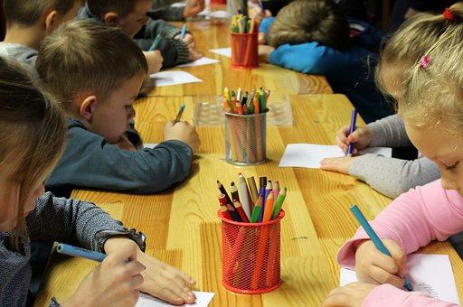 preschool children doing class activity