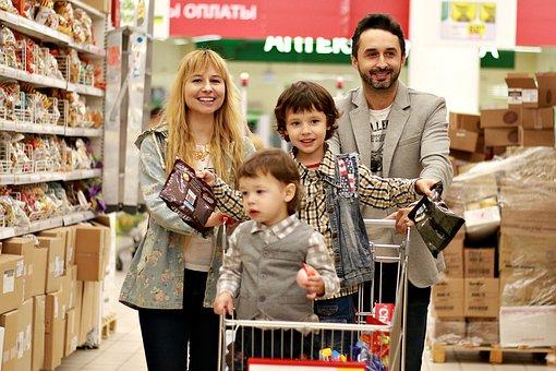 ショップ, スーパー マーケット, スカート, 家族, 家計, ショッピング