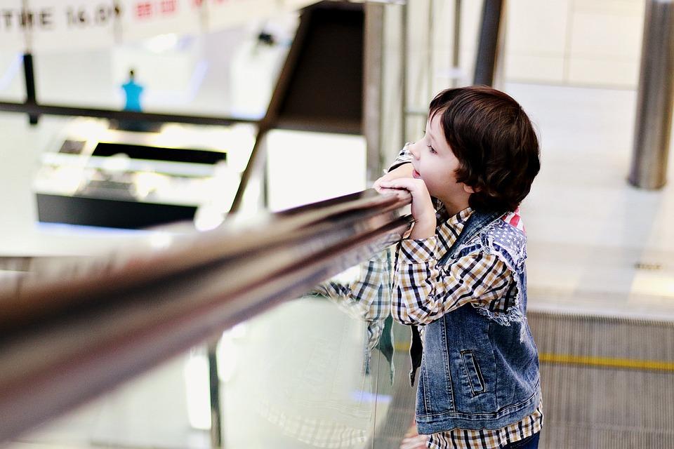 Boy, Kids, Escalator, Shopping Center, Supermarket