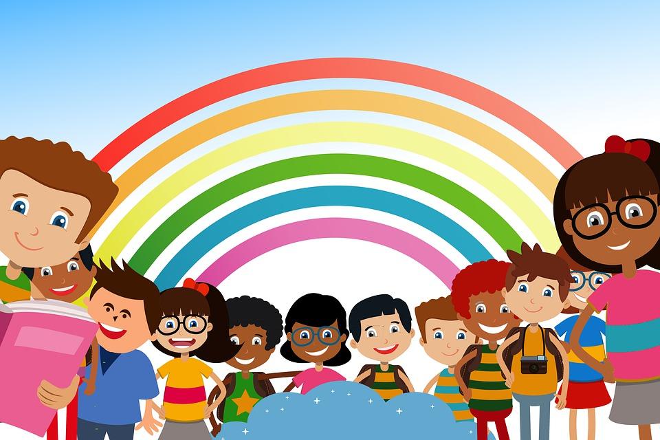 École, Étudiants, Les Enfants, Arc En Ciel, Éducation