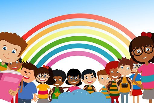School, Students, Children, Rainbow