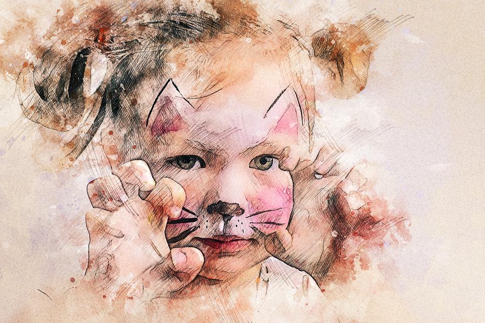 赤ちゃん, 女の子, 猫, 子供, かわいい, アクアップ, ゲーム, ポーズ, 猫のみ, ハローキティ
