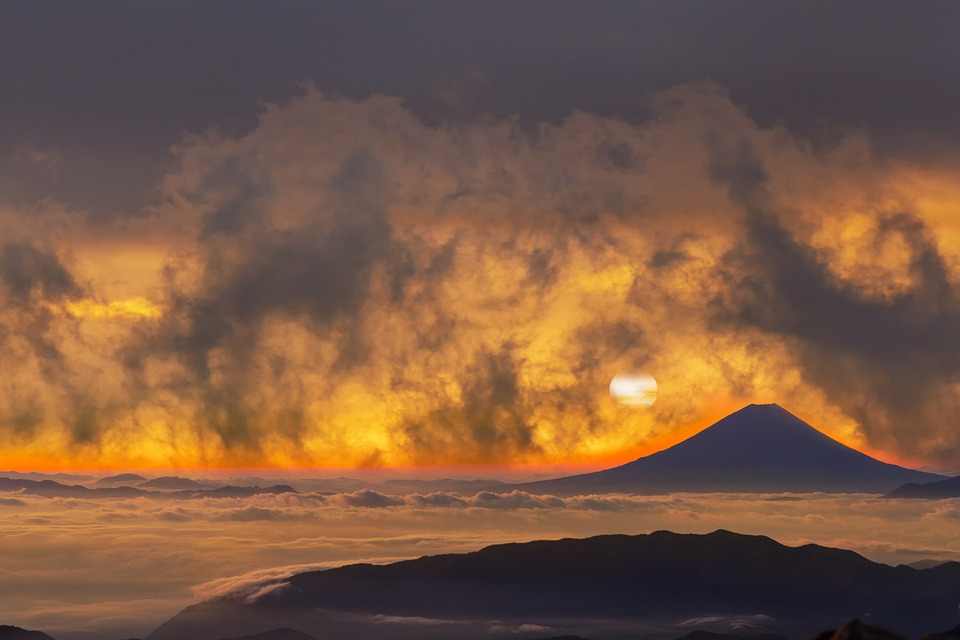 Volcano, Mountains, Clouds, Sunset, Mt Fuji, Alps