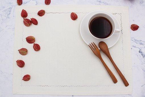 Mug, Desktop, Dining Table, Fork, Spoon