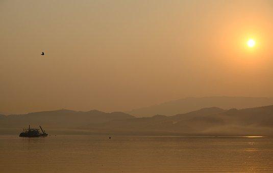 China, Yangtze, Sunrise, River, Boat