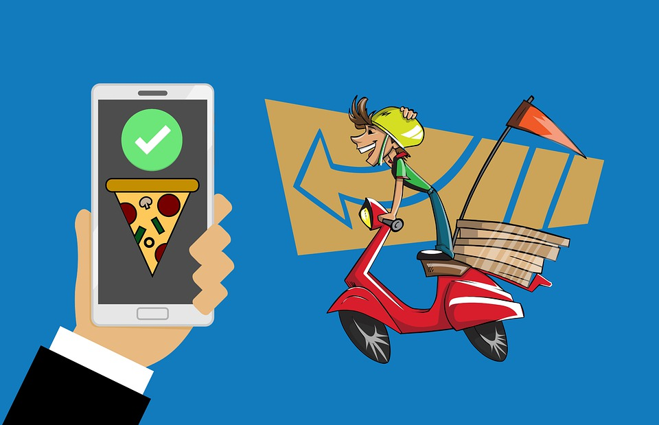 Pizza, Delivery, Bike, Order, Online, Screen, Service