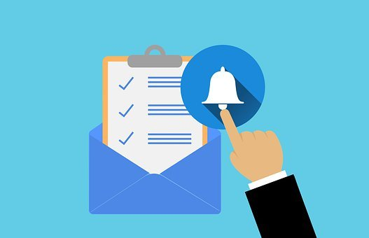 電子メール, アラート, レポート, ドキュメント, 手, アラーム