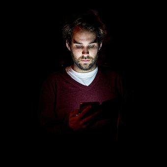 スマート フォン, 男, 夜, 使用者, 携帯電話, Iphone, モバイル