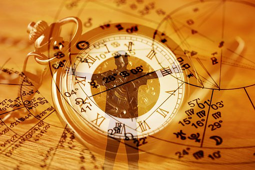 占星術, クロック, シルエット, 男, 抱擁, 懐中時計, 運動, 預言