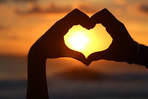 心, 日落, 阴影, 剪影, 浪漫, 灵魂, 爱情, 爱, 感情, 海滩