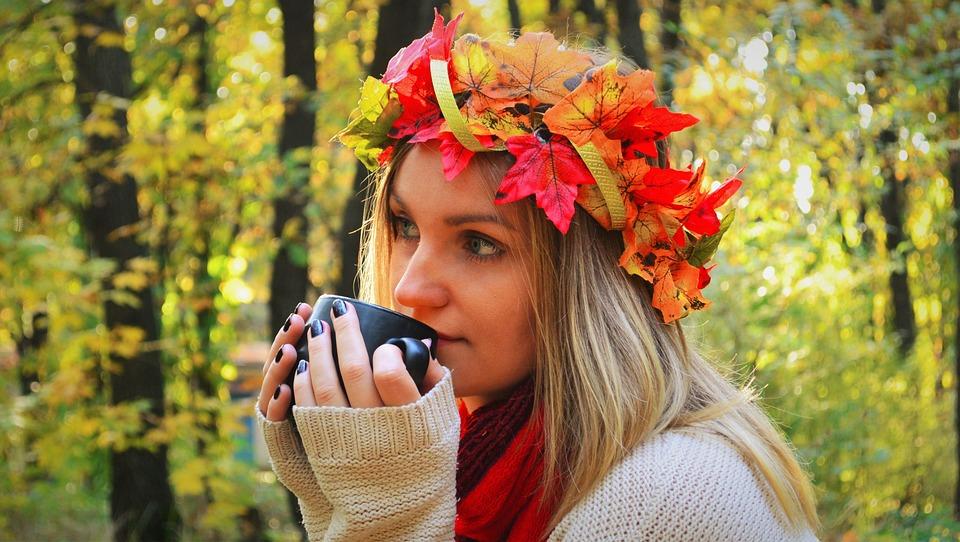 Autumn, Fall, Leaf Fall, Girl, Leaf Wreath, Forest