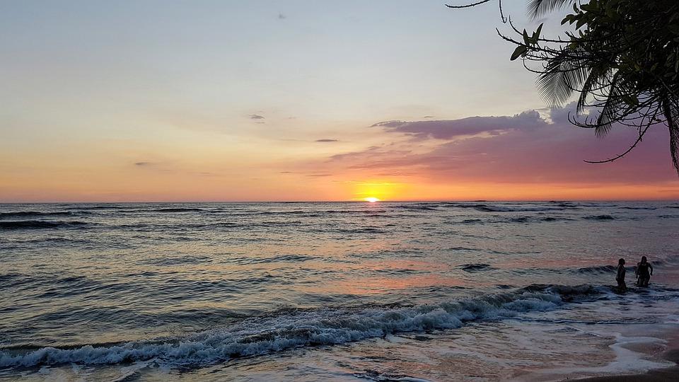 Gwatemala, Morze, Zachód Słońca, Niebo, Chmury, Ludzie