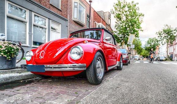Beetle, Car, Red, Volkswagen, Vehicle