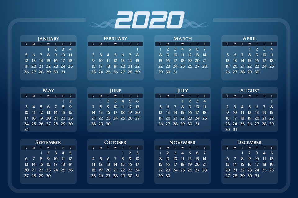 Calendar, Date, 2020, Days, Weeks, Months, Year, Daily