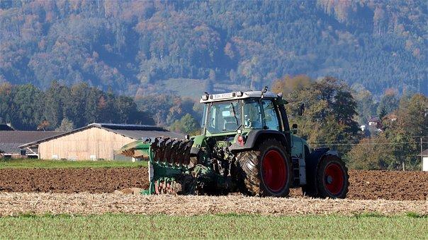 犁, 拖拉机, 字段, 可耕地, 农业机械, 农业, 拖轮, Fendt