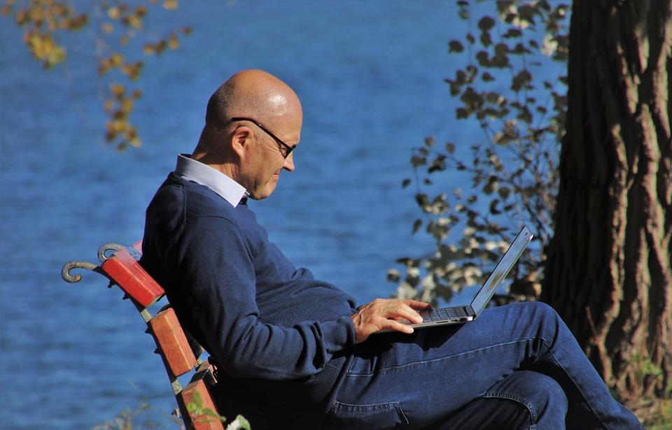 Портативный Компьютер, Осень, Интернет, Скамейка