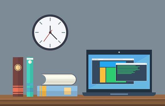 オフィス, ビジネス, 教育, ラップトップ, コンピュータ, 技術, クロック