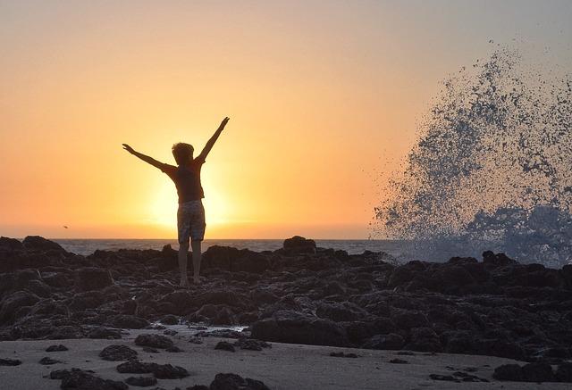 日没, ビーチ, 水, 空, 夕暮れ, 風景, 夜, 自然, 波, 喜ぶ, 気分, 海, 岩, スプラッシュ
