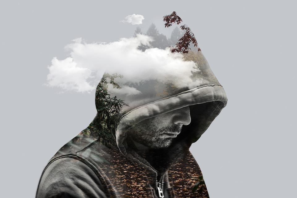 二重露光, ファンタジー, 男, モデル, フード付き, 雲, 山, 枝, 葉, 風景, 謎, 神秘的な