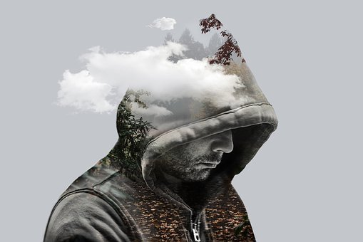 二重露光, ファンタジー, 男, モデル, フード付き, 雲, 山, 枝, 葉
