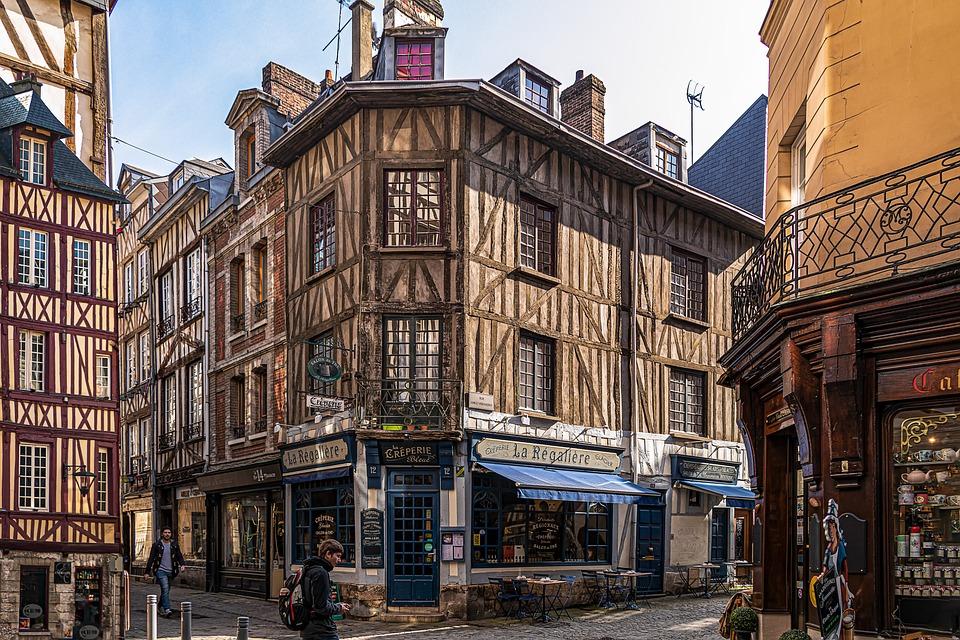 Rouen, City, Turist, Gamla Hus, Butiker, Fasad