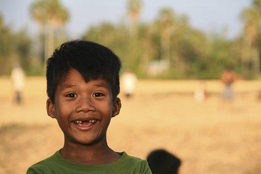 笑, 差距, 男孩, 孩子, 牙仙, 快乐, 乳齿, 亚洲, 柬埔寨, 搞笑