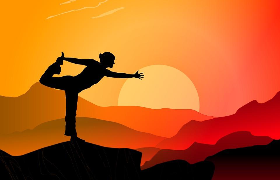 ヨガ, 日没, 山, スポーツ, 人, フィットネス, ライフスタイル, コンセプト, トレーニング, 位置
