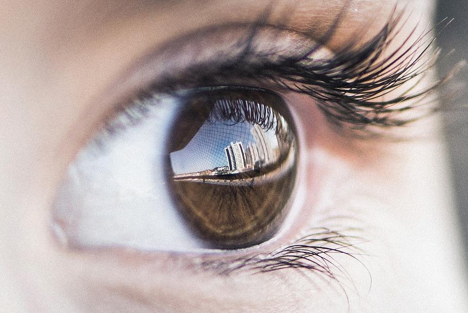 目, 反射, 写真, 女の子, Selfie, 人間, 建物, 市