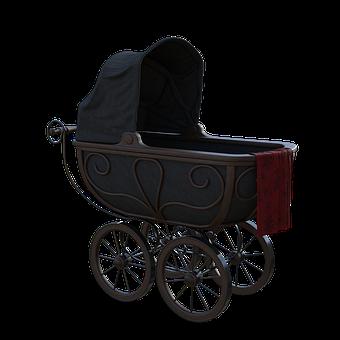 Pram, Black, Stroller, Mother, Baby