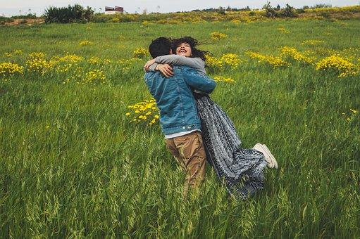 Couple, Love, Meadow, Grass, Flowers