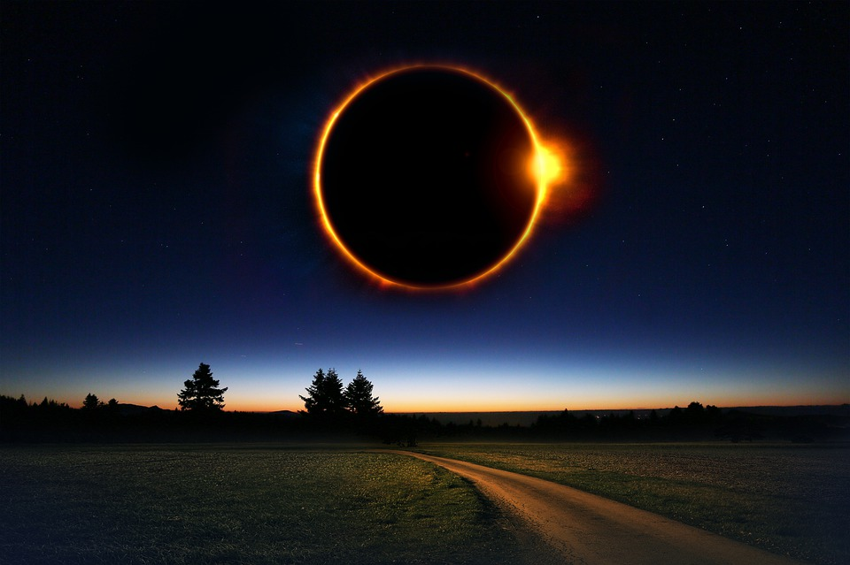 Fantasy, Sky, Eclipse, Night, Light, Field