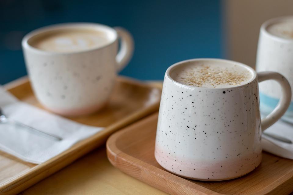 テーブル, コーヒー, カップ, カプチーノ, ブログ, 休み, カフェ, ラテ, マグカップ, 午前中に
