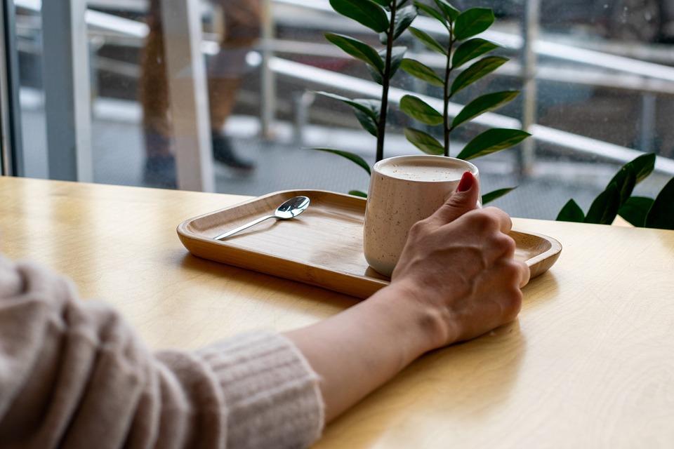 手, コーヒー, テーブル, インターネット, 朝, 休み