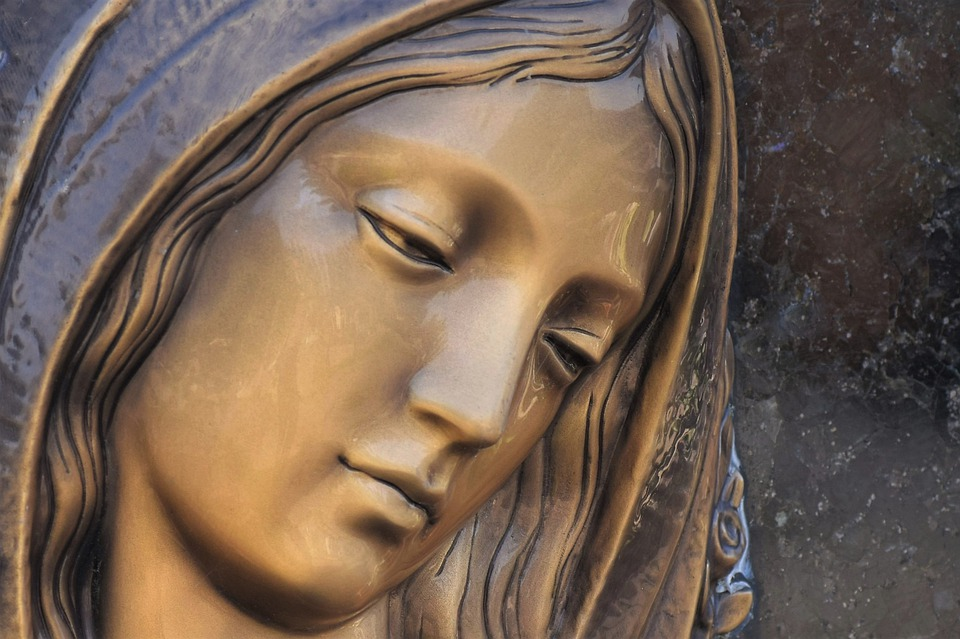 Headstone, Mother Mary, Face, Decoration, Black Marble