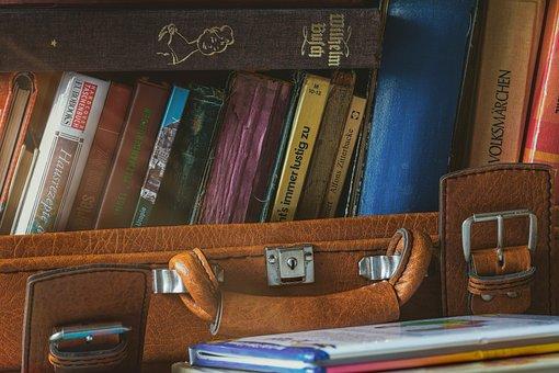 荷物, 書籍, ノスタルジア, 革のスーツケース, レジャー, 読み取り