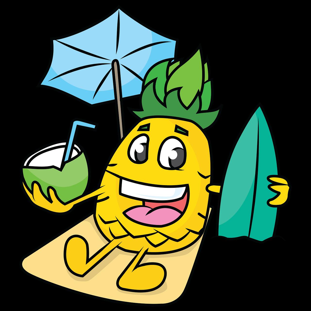 Beach Pineapple Cartoons Free Image On Pixabay